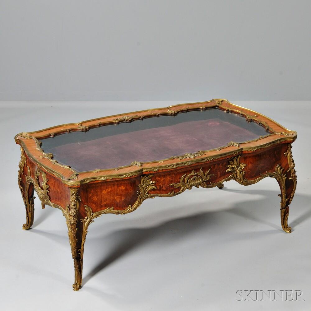 Louis XVI-style Ormolu-mounted Marquetry Vitrine Table