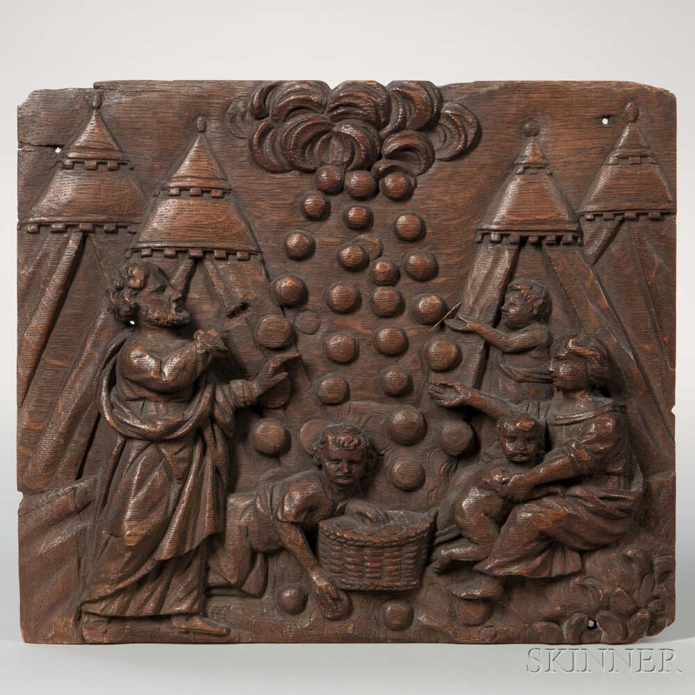 German Carved Oak Panel Depicting a Gleaning Scene