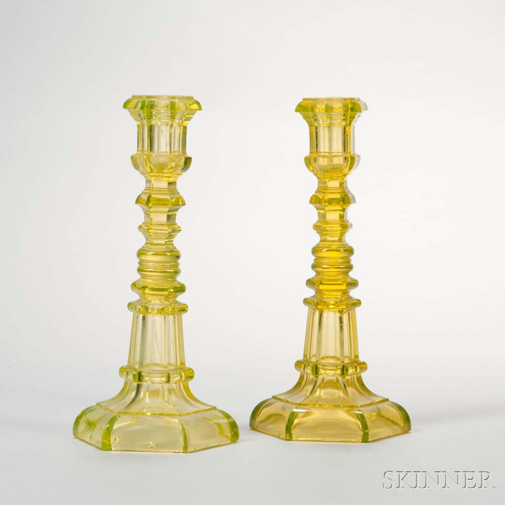 Pair of Canary Yellow Pressed Glass Hexagonal Candlesticks
