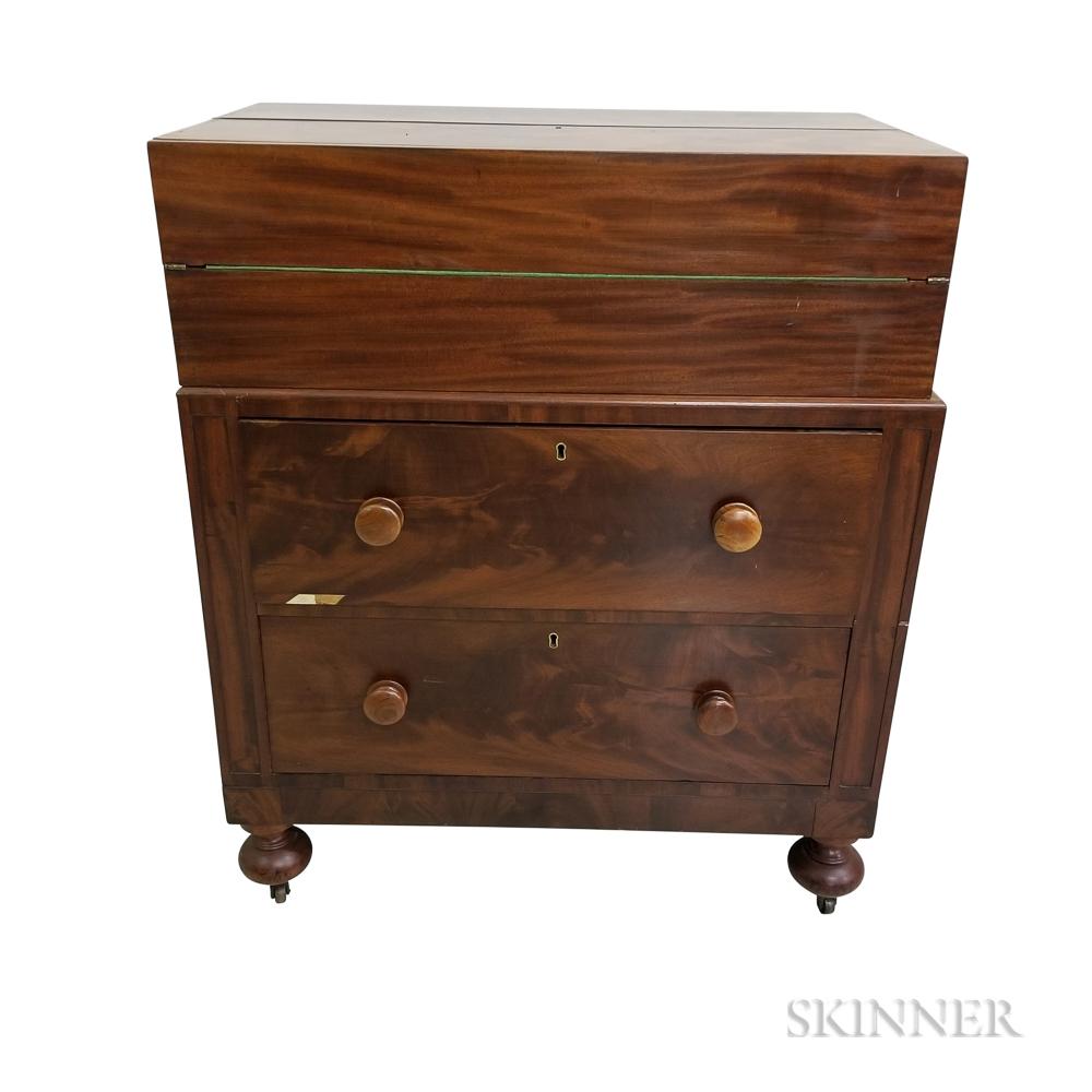 Victorian Mahogany Veneer Captain's Desk
