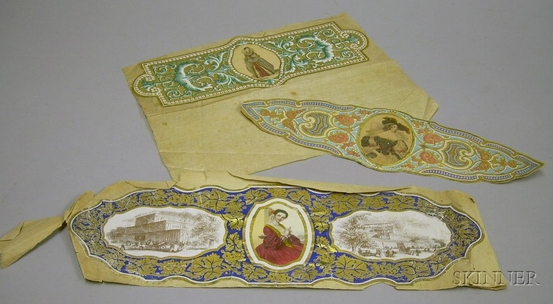 Three Engraved and Hand-tinted Linen Labels