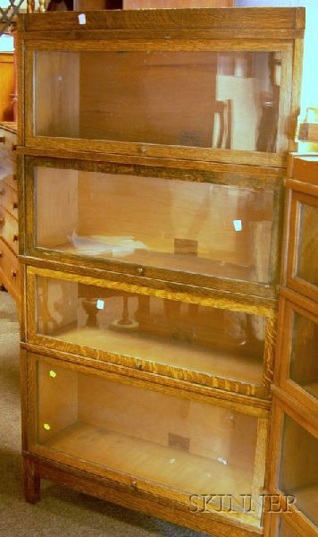 Globe-Wernicke Oak Four-stack Barrister's Bookcase