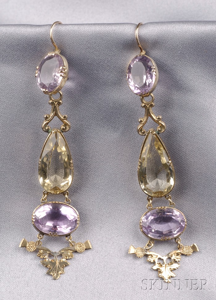 Antique 14kt Gold, Citrine, and Amethyst Earpendants