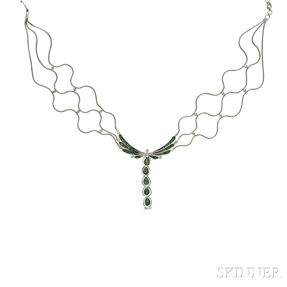 18kt Gold, Tsavorite Garnet, and Diamond Pendant Necklace