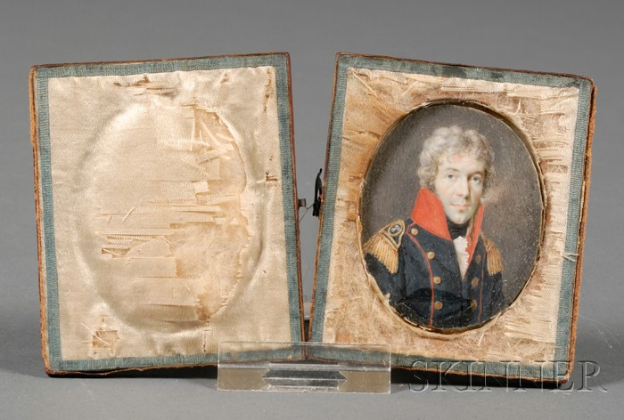 Continental Portrait Miniature on Ivory of a Military Officer