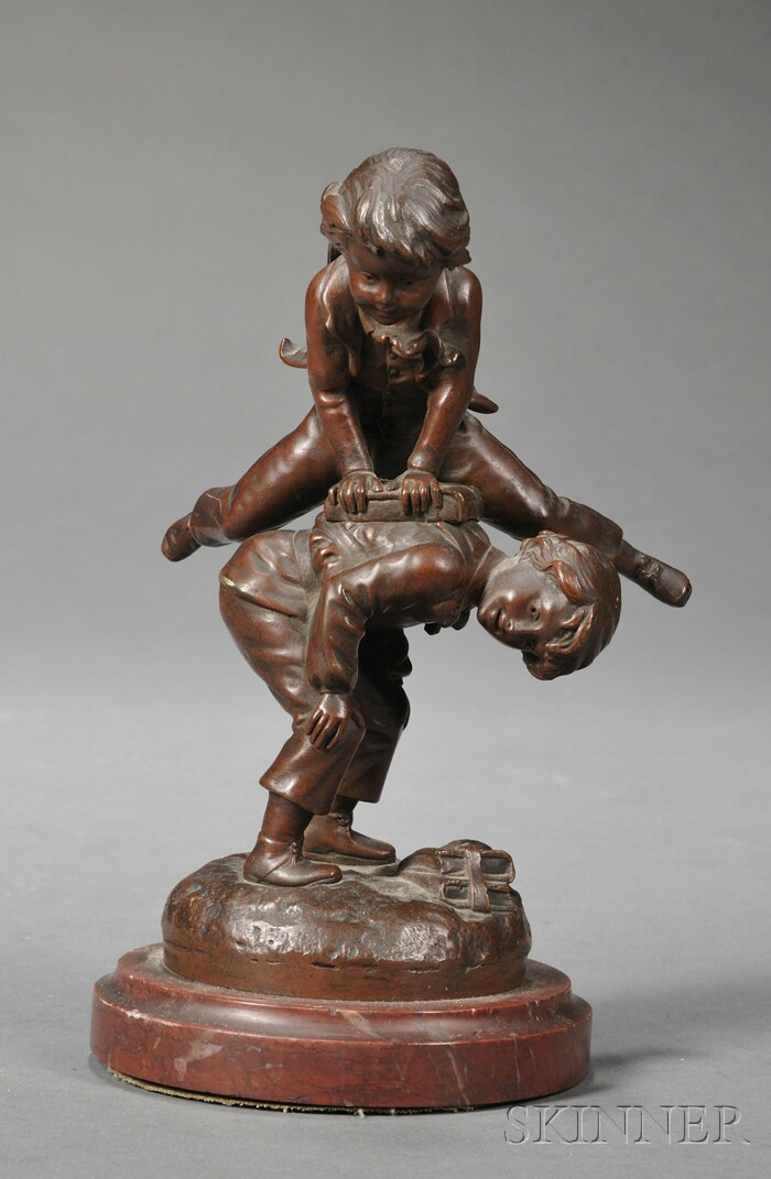 Charles Georges Ferville-Suan (French, 1847-1925)      Bronze Statue of Saute-Mouton