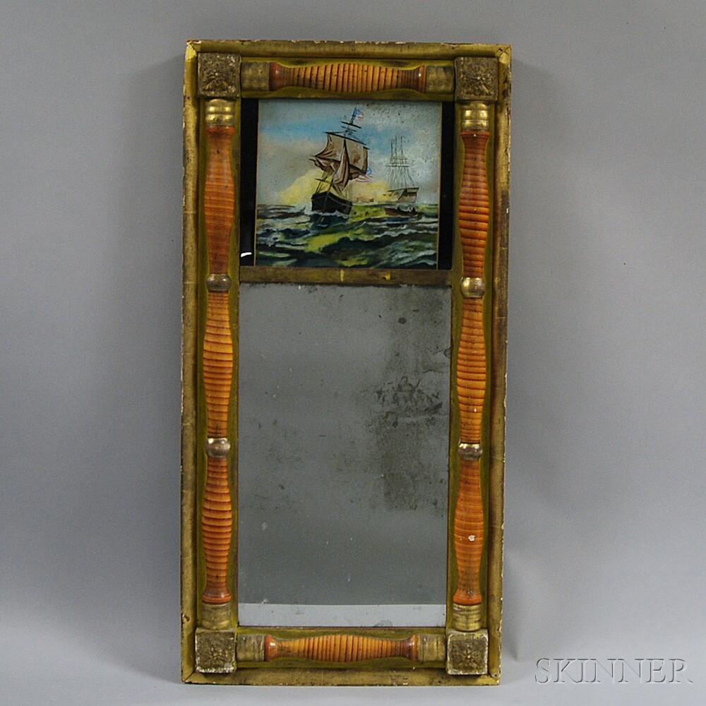 Grain-painted and Gilt Split-baluster Mirror
