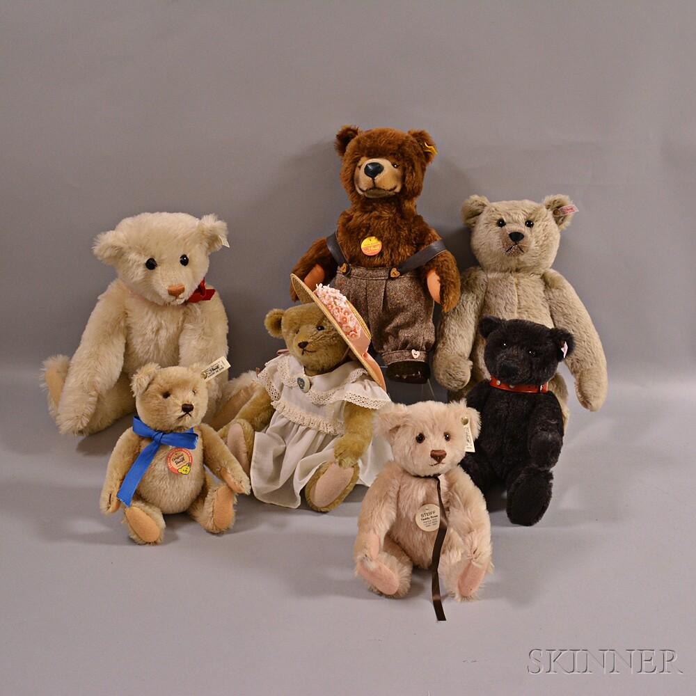 Seven Collectible Steiff Teddy Bears