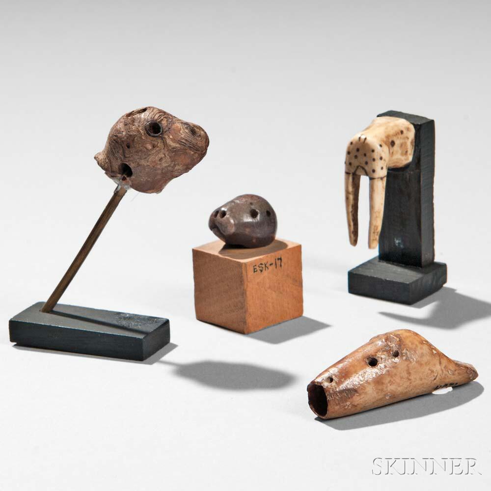 Four Eskimo Ivory Animal Heads