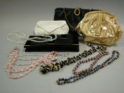 Group of Assorted Mid 20th Century Handbags, a Muff and Costume Jewelry