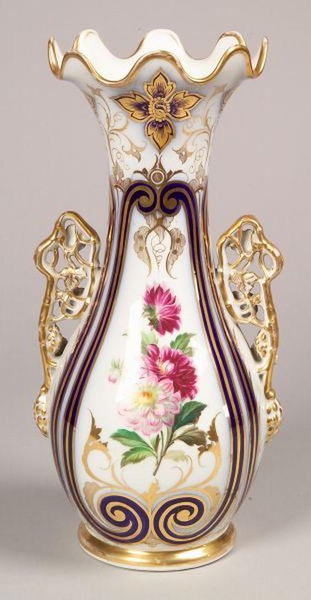 Paris Porcelain Hand-painted Floral Decorated and Parcel-gilt Two-handled Vase