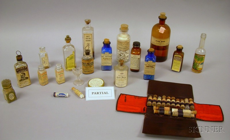 Approximately Eighty-four Medicinal and Household Molded Glass Bottles and Vials