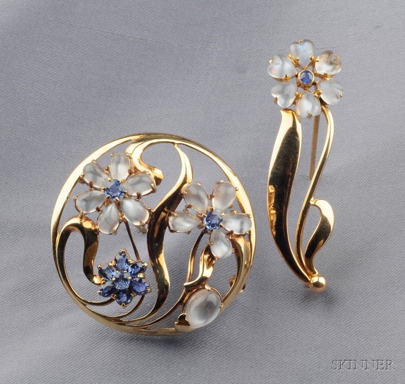 Two Retro 14kt Gold, Moonstone, and Sapphire Flower Brooches