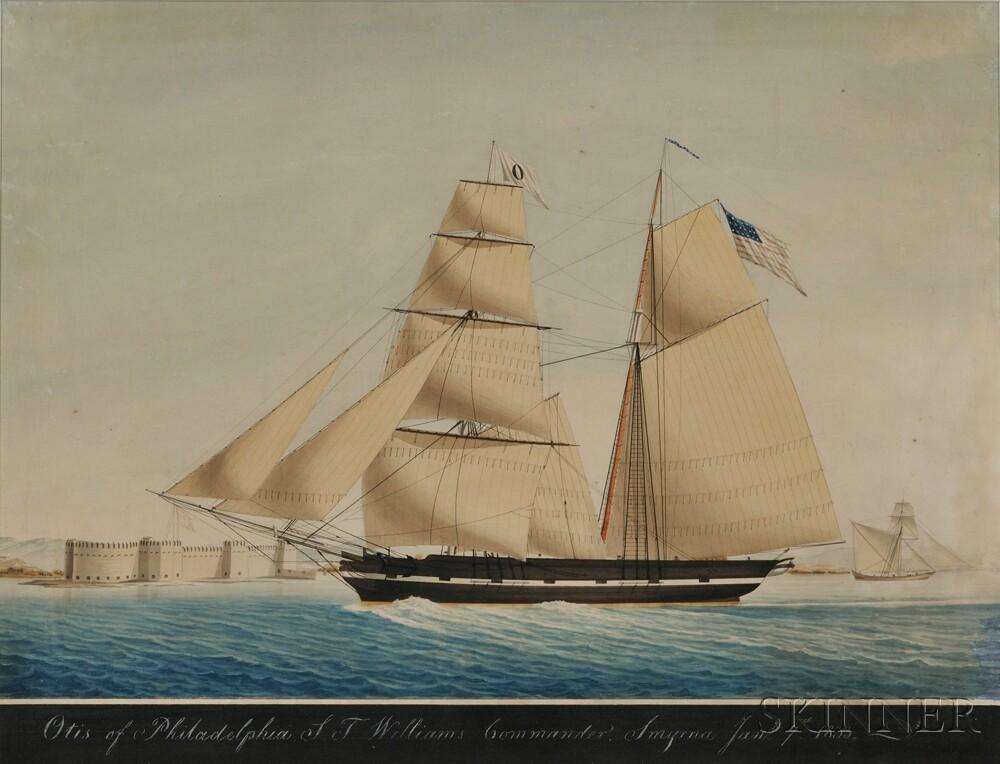 Attributed to Raffael Corsini (Turkish, active Smyrna, 1830-1880)      The Brigantine Otisof Philadelphia off Smyrna January 7, 1833.