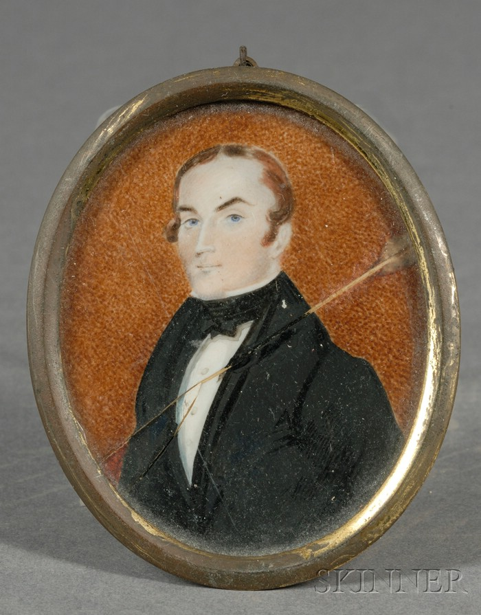 Portrait Miniature of a Blue-eyed Gentleman Wearing a Black Jacket