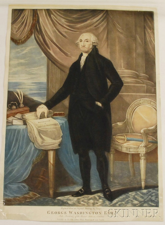 Unframed I. Le Petit Hand-colored Engraved Portrait George Washington Esq.