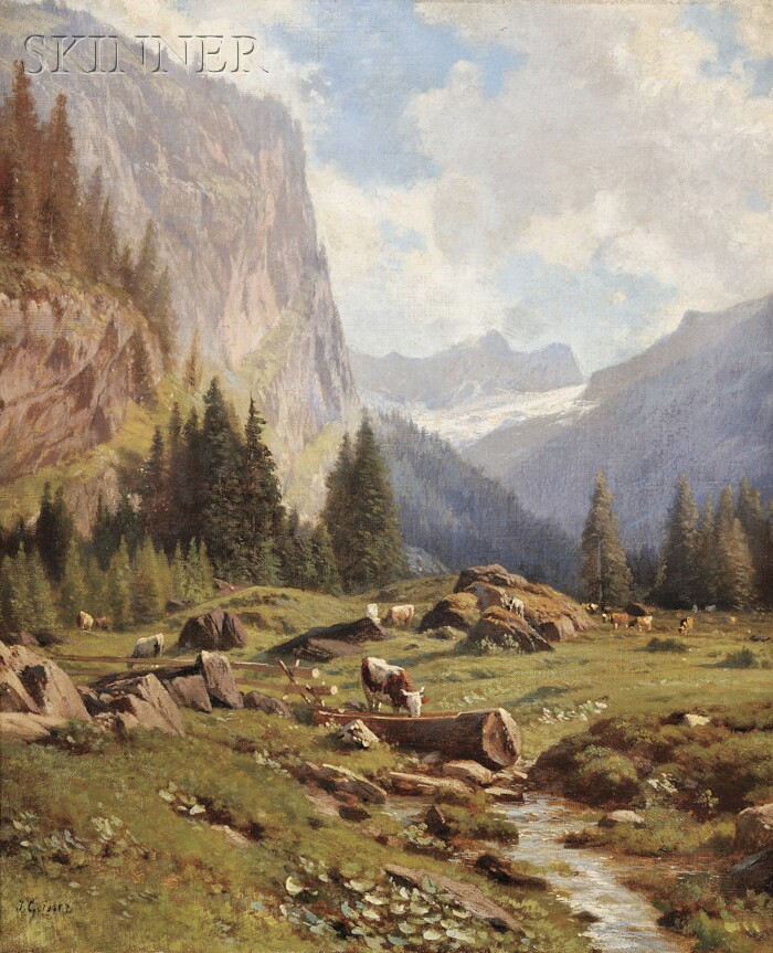 Johann Josef Geisser (Swiss, 1824-1894)      Lot of Two Alpine Views
