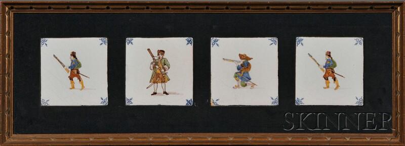 Four Delft Figural Tiles