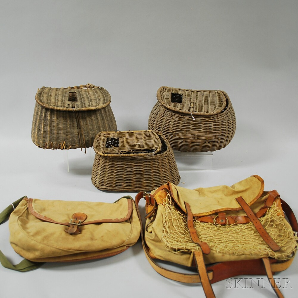 Three Wicker Fishing Creels and Two Vintage Leather-trimmed Canvas Fishing/Hunting Bags.     Estimate $50-75