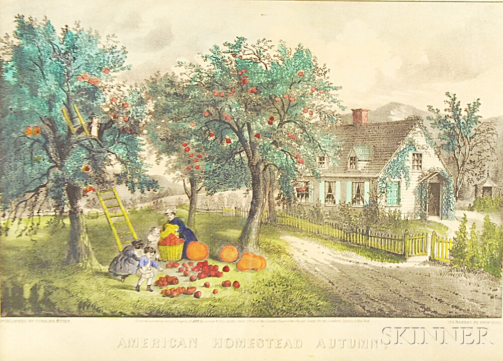 Small Framed Currier & Ives Lithograph American Homestead Autumn