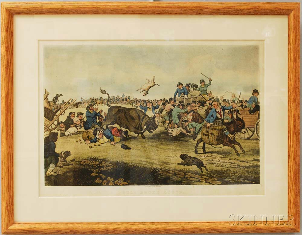 Framed Hand-colored Lithograph Bull Broke Loose.