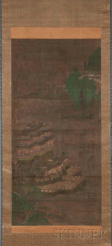 Hanging Scroll Depicting a Qinglu Shanshui  (Blue-green Landscape)