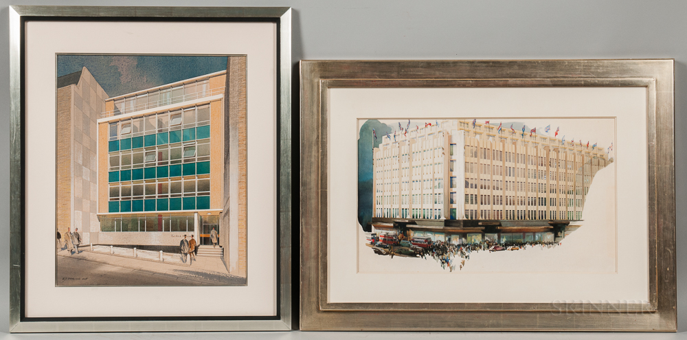 Edmund J. Thring (British, 20th Century) and British School, 20th Century Two Architectural Watercolor Drawings: Turban House, Botolph
