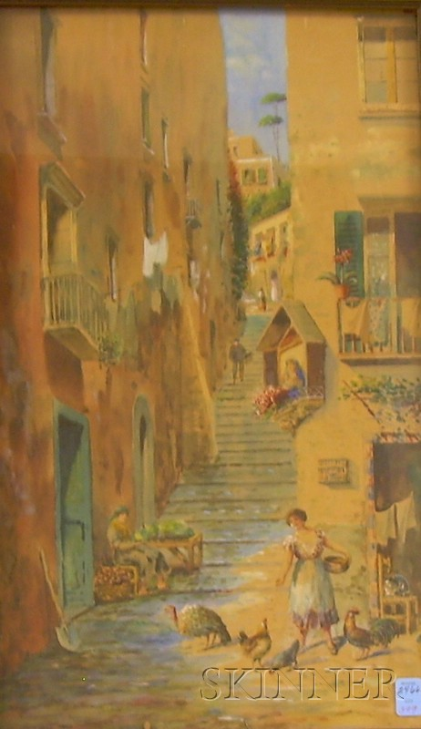 Attributed to Alessandro Altamura (Italian, 1855-1918)      View of an Alley with a Woman Feeding the Chickens