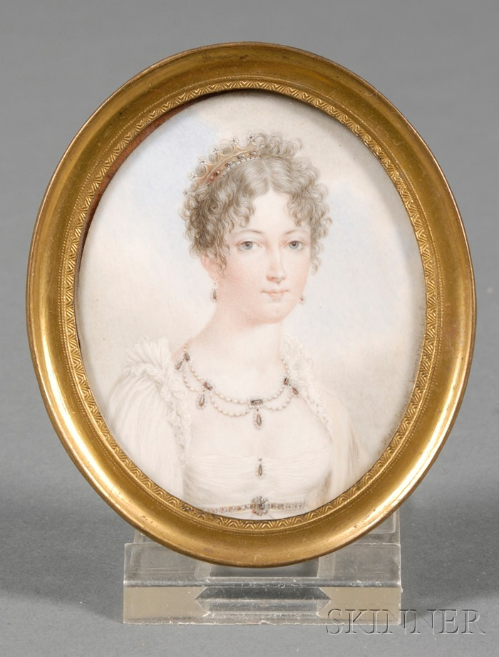 French Portrait Miniature on Ivory of Empress Marie Louise