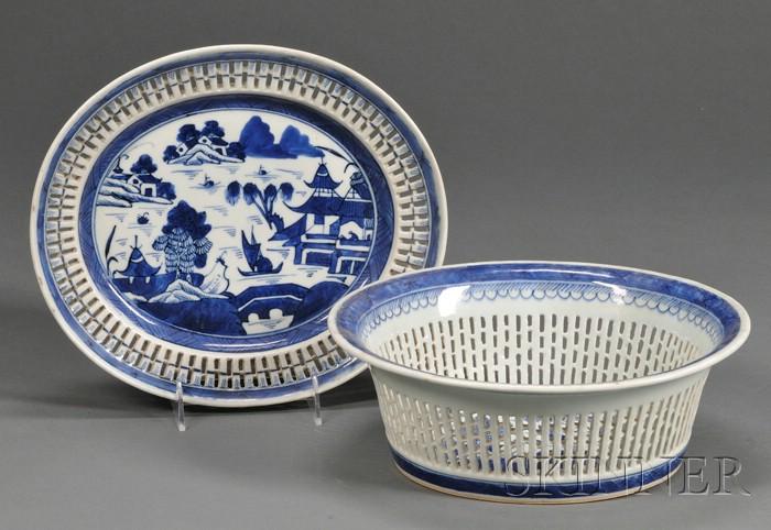 Canton Porcelain Fruit Basket and Undertray