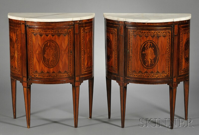 Pair of Demilune Marquetry-inlaid Marble-top Cabinets