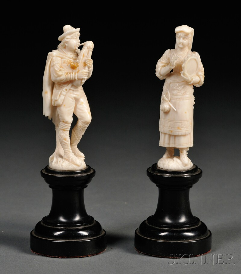 Two Carved Ivory Figures of Musicians