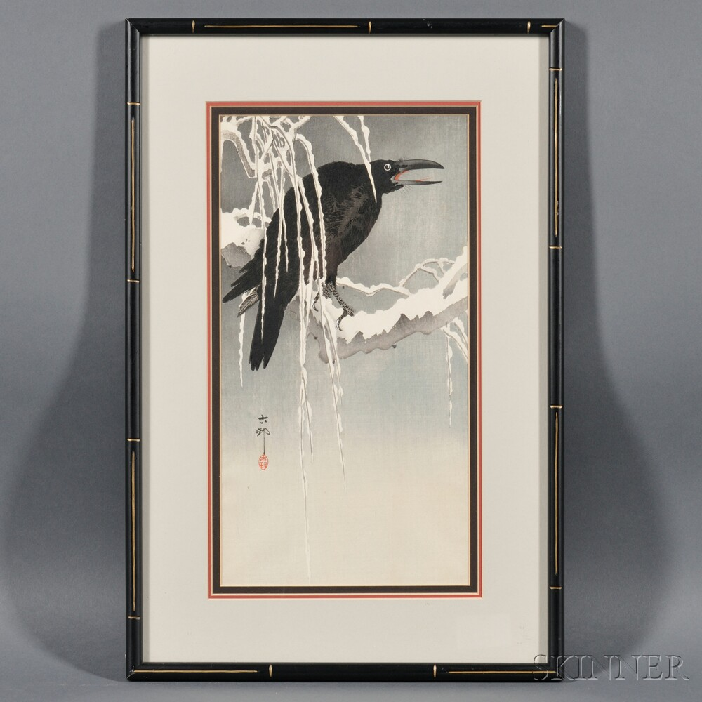 Ohara Koson (1877-1945), Crow Perched on a Snow Covered Branch