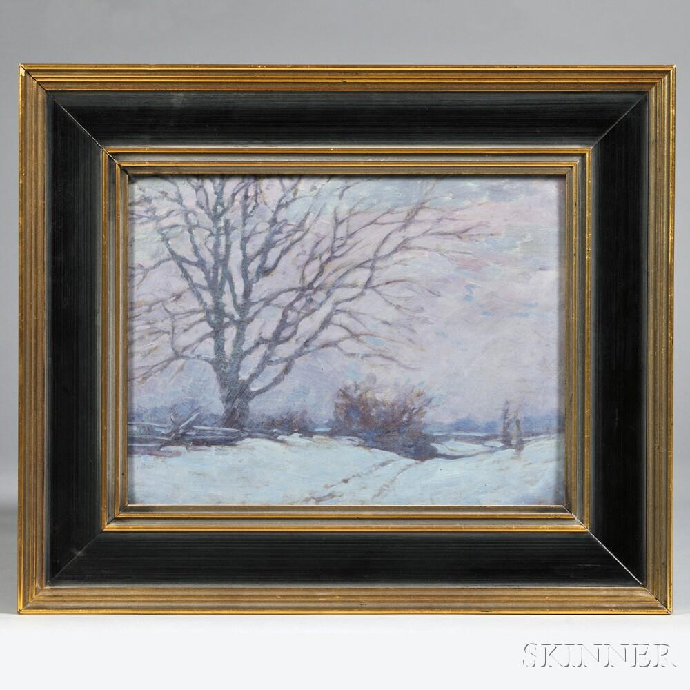 Thomas Watson Ball  (American, 1863-1934)      Twilight Landscape with Snow.