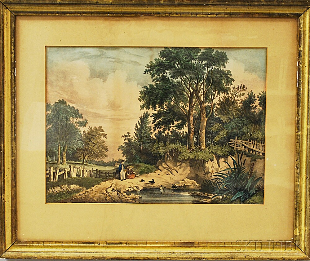 Framed Currier & Ives Lithograph Sweet Spring Time