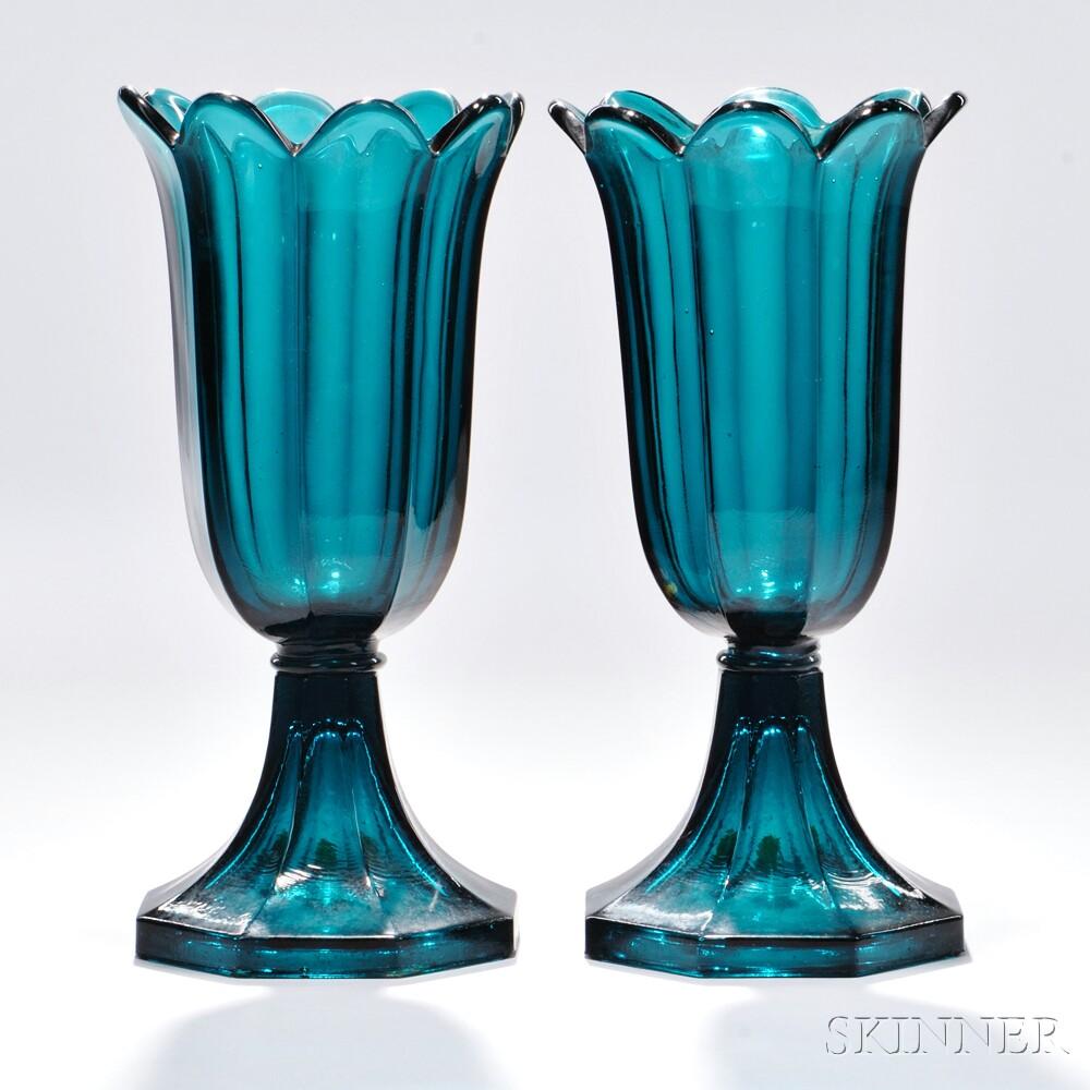 Pair of Blue/Green Pressed Glass Tulip Vases