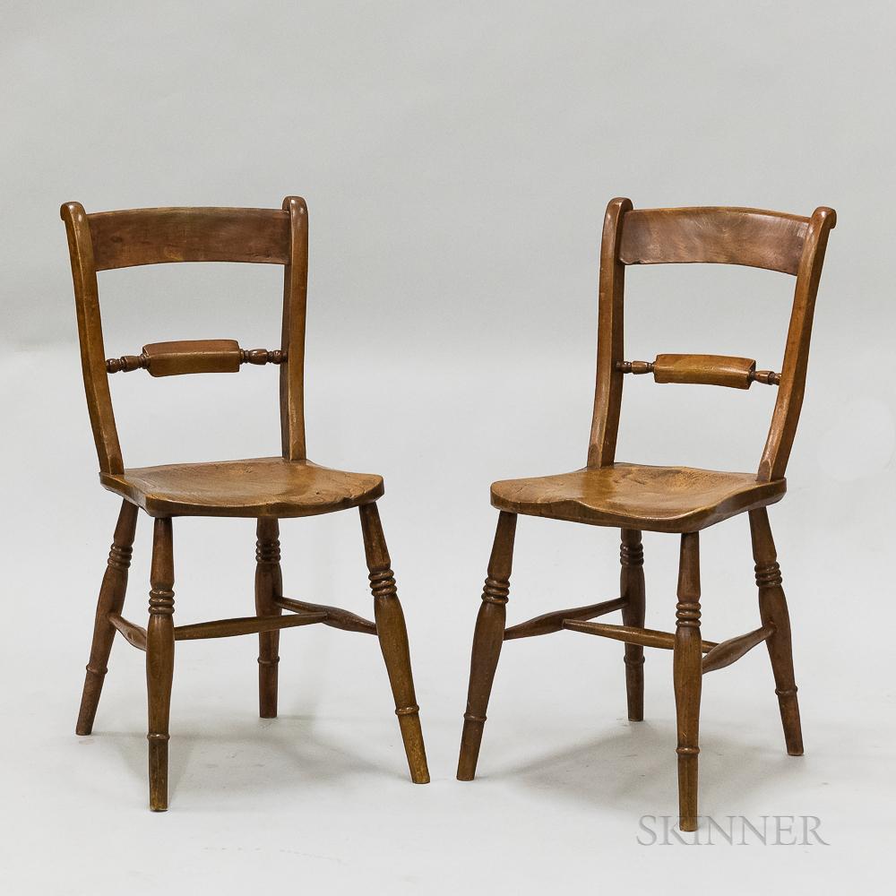 Pair of English Yewwood Side Chairs