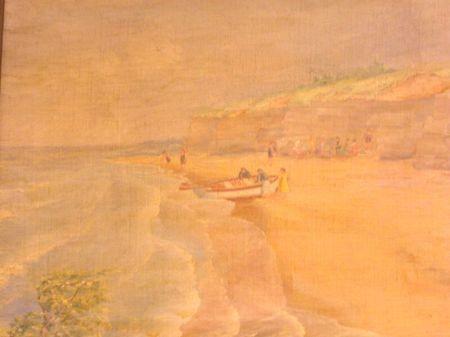 Framed Oil of Light House Point, Dunkirk, New York
