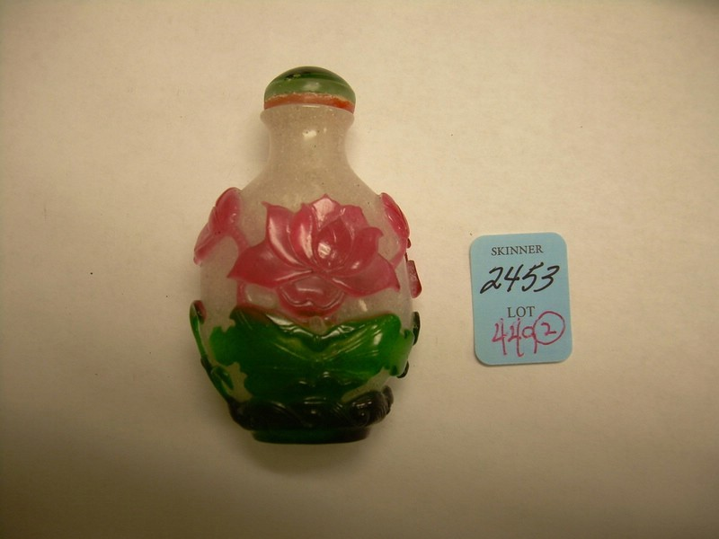 Jade Seal and Peking Glass Snuff Bottle.