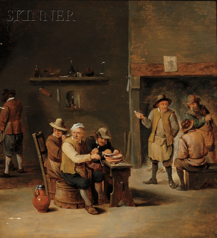 Follower of David Teniers, the Younger (Flemish, 1610-1690)      Interior of an Inn with Peasants Smoking