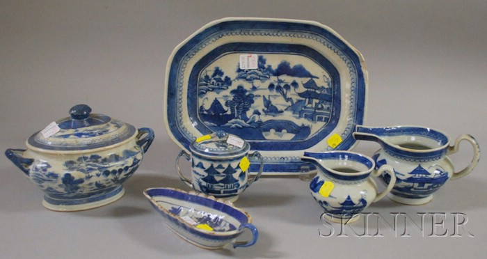 Six Pieces of Chinese Export Porcelain Canton Tableware
