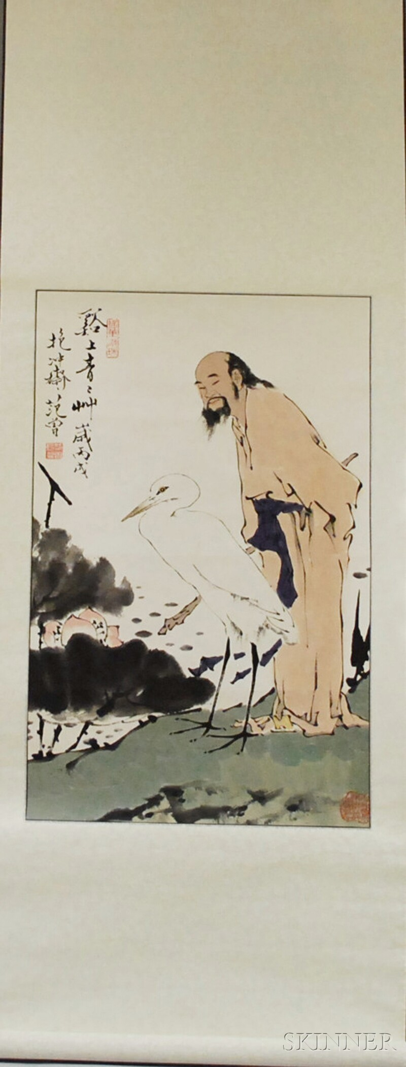 Chinese Ink and Watercolor on Paper Hanging Scroll Depicting a Scholar with a Crane