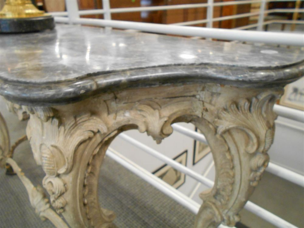 Pair of Louis XV-style Painted Marble-top Consoles