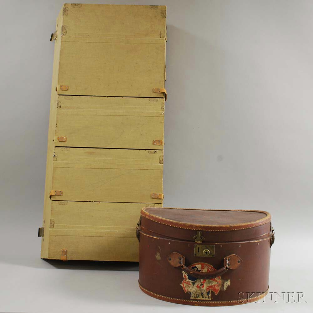 Hidex Hatbox and a Linen-covered Steamer Trunk Storage Insert.