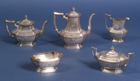 "Five Piece Wallace Sterling ""Carmel"" Tea and Coffee Service"