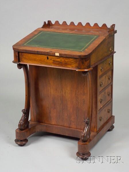 Early Victorian Rosewood Davenport Desk