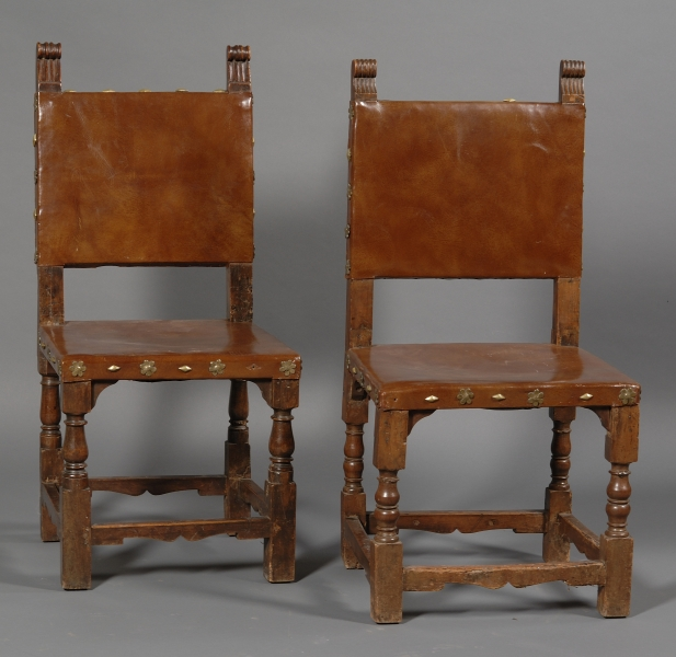 Pair of Renaissance Style Brass Studded and Leather-upholstered Walnut Side Chairs