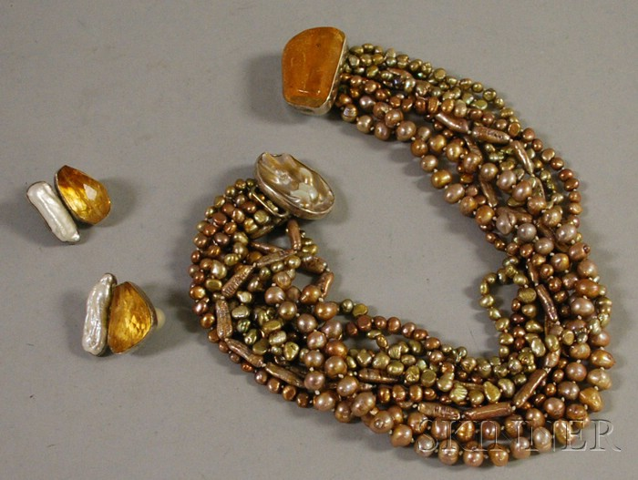 Sterling Silver, Freshwater Pearl, and Amber Suite, Rebecca Collins for Neiman   Marcus
