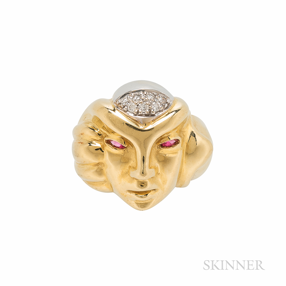 Andrew Sarosi 18kt Gold, Ruby, and Diamond Mask Ring