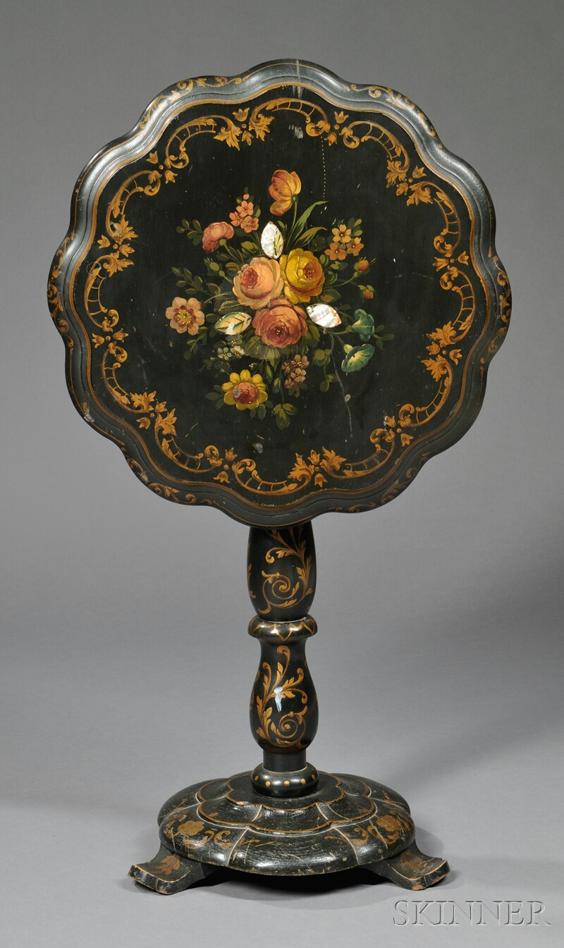 Victorian Black and Polychrome Painted Tilt-top Table